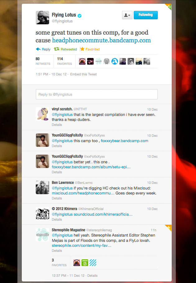 Flying Lotus Tweets Support for Headphone Commute's Hurricane Sandy benefit compilation ... and darkness came