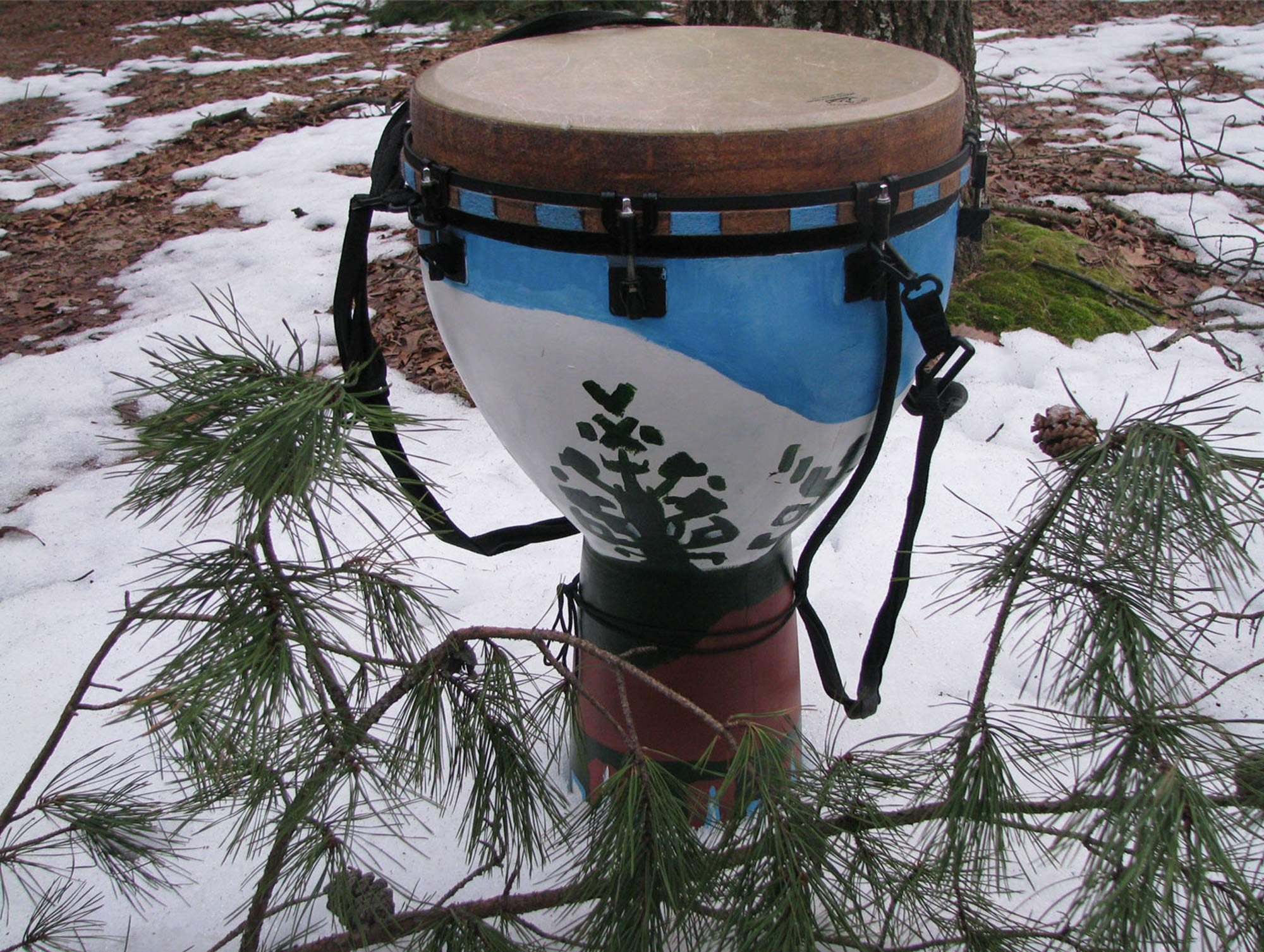The Cloud People djembe, from Samuel Michael Moskalik.